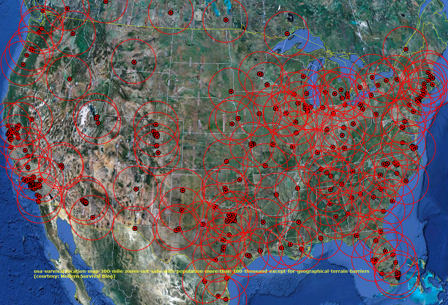 Usa Map Of Largest Cities Including Highways Survivalist Forum