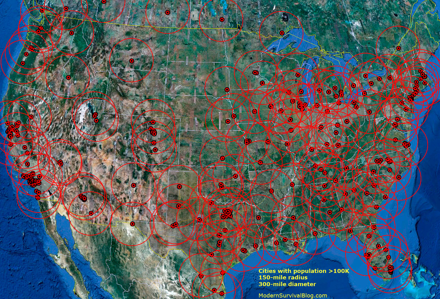 Safer Survival Distance From USA City Hordes Modern Survival Blog - Map of the us zones