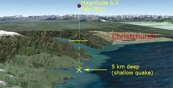 Earthquake Christchurch New Zealand Map. christchurch-earthquake-5km-