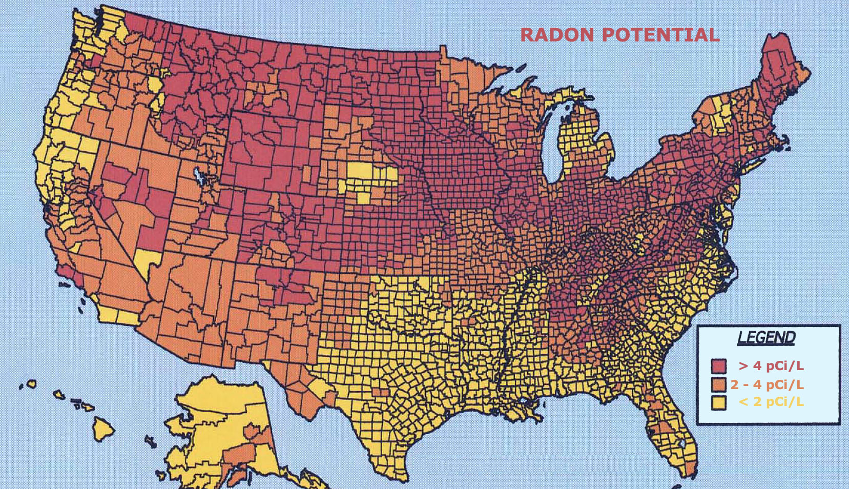 Radon Gas In Your Home May Cause Lung Cancer Modern Survival Blog - Us map high resolution