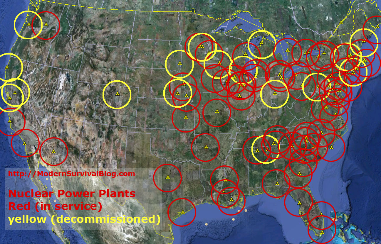 US Nuclear Power Plants Safe Distance Modern Survival Blog - Us nuclear powerplants location map