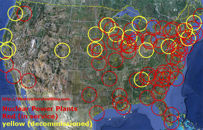 Nuclear Power Plant Location Map