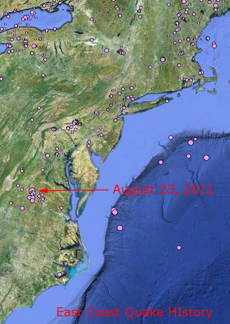 East Coast Earthquake History Map