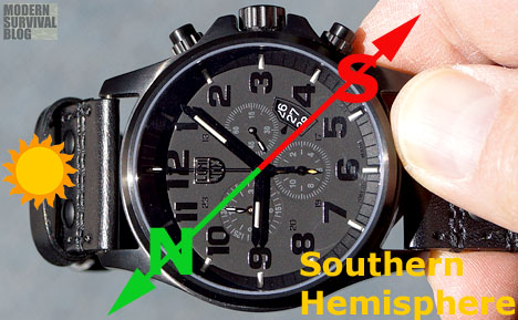 How to use a watch as a compass in the Southern Hemisphere