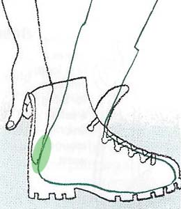Before lacing, push foot forward. One finger should fit behind heel