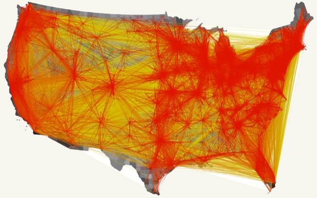 Map Of Money Paths Traveled And Population Density Modern - Map of the us population density
