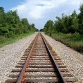 Walk along railroad tracks