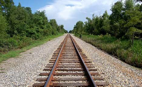 Walk along railroad tracks