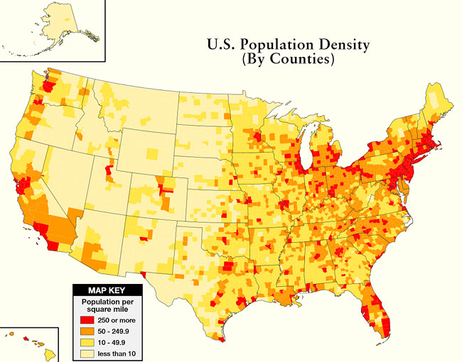 More Important Than Preps And Skills Modern Survival Blog - Map of us population