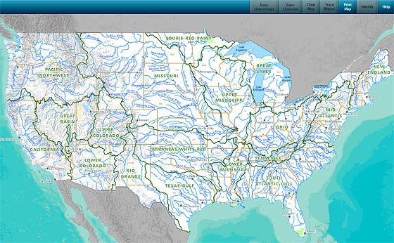 This Rivers Streams Online Map Shows Upstream And Downstream - United states rivers map