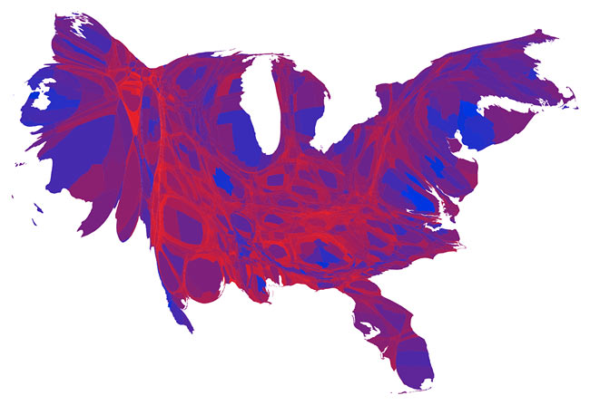 united-states-counties-voting-map-cartogram-margin-of-victory
