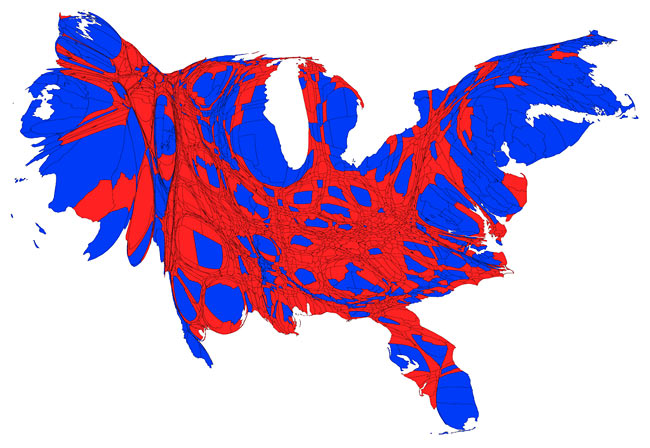 united-states-counties-voting-map-cartogram