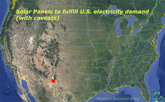 Amazing Map Total Solar Panels To Power The United States - Solar power map us