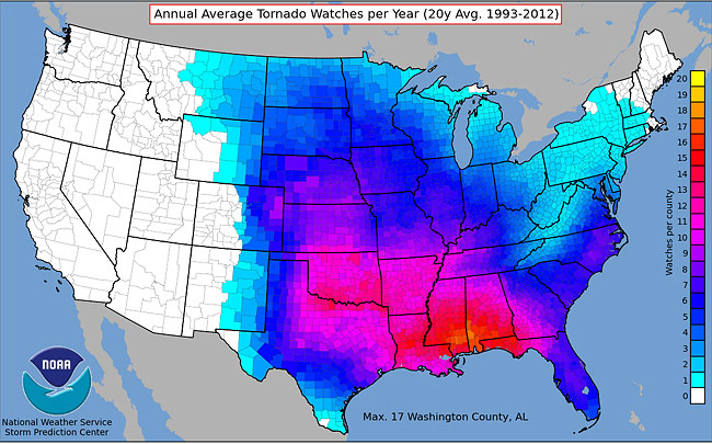 map-of-average-number-tornado-watches-per-year