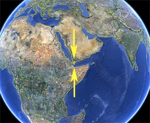 yemen-earthquake-swarm-location-globe-view