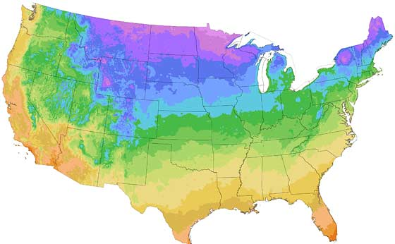 Hardiness Zone Map and Frost Dates for your Growing Season