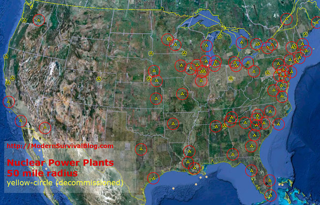 Nuclear Power Plant Locations in the United States