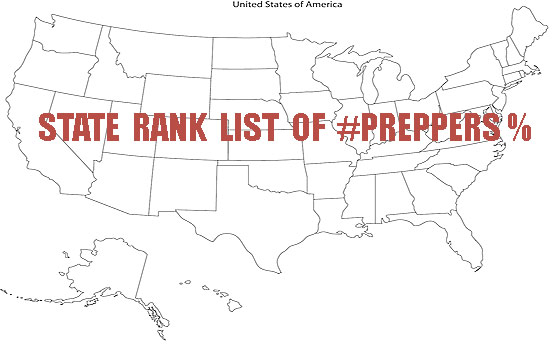 State Rank List – Percentage Of Preppers Per Population