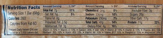 Clif Bars Nutrition