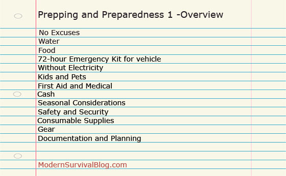Prepping and Preparedness 1 -Overview