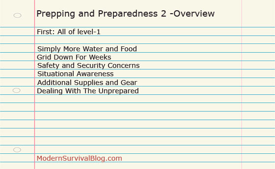 Prepping and Preparedness 2 -Overview