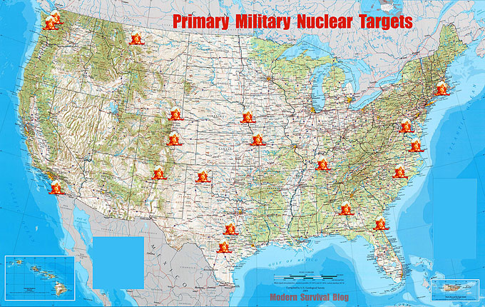 Primary Military Nuclear Targets in the United States mainland