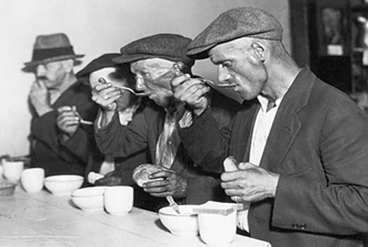 Eating soup during the Great Depression