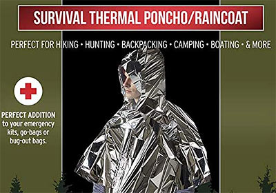 Mylar thermal rain poncho to keep warm
