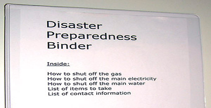 Disaster Preparedness Binder for evacuation