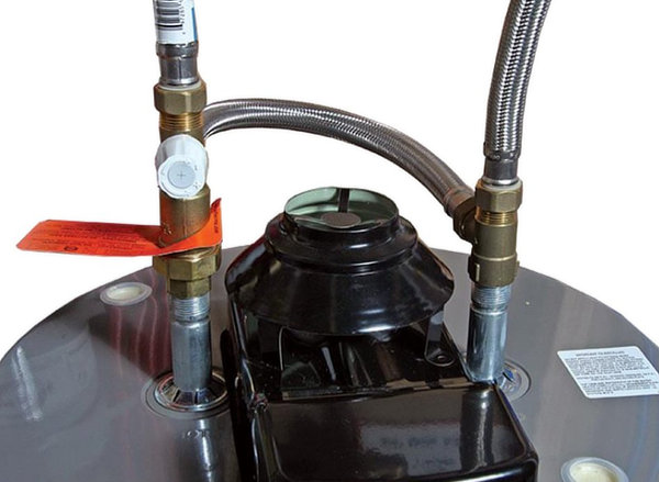 Easy to install hot water heater tank mixing valve for 120 degree temperature.