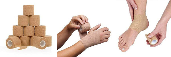 rolls of self adhering stretchy medical bandage