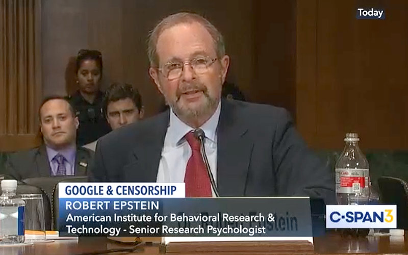 Robert Epstein testifying at Senate regarding big tech influence.
