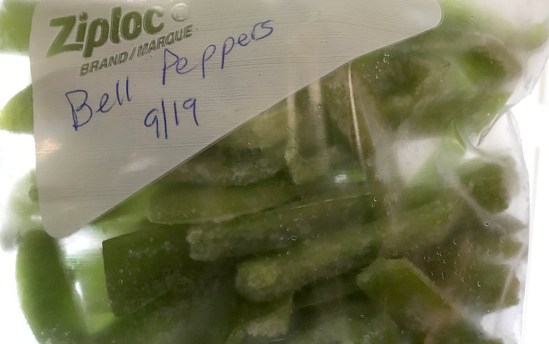freeze bell peppers in ziploc bag