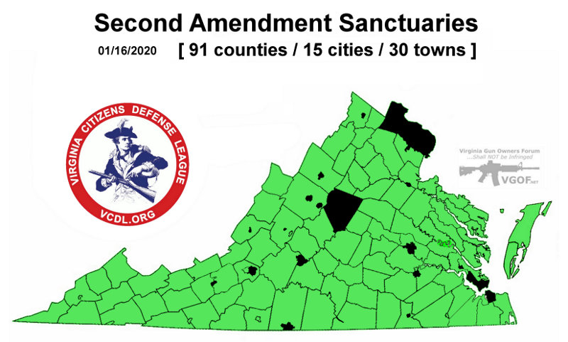 Virginia second amendment sanctuary locations map