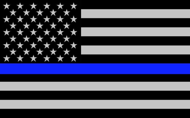 American flag with thin blue line
