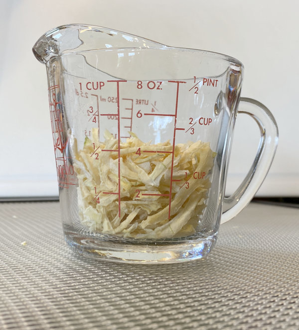 One large onion dehydrated to 1/4 cup