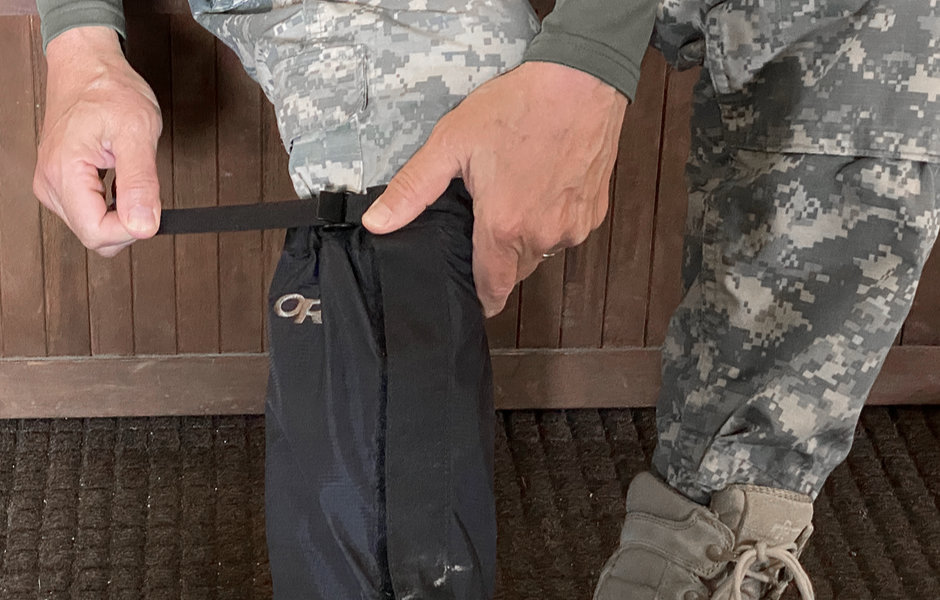 The top adjustable strap to snug gaiters.