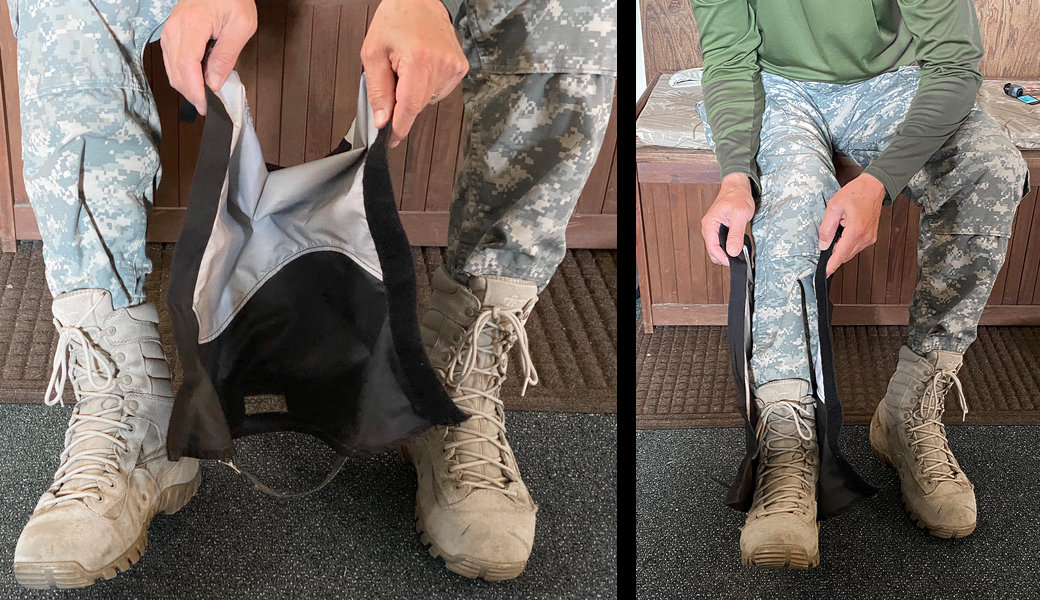 How to put on gaiters.