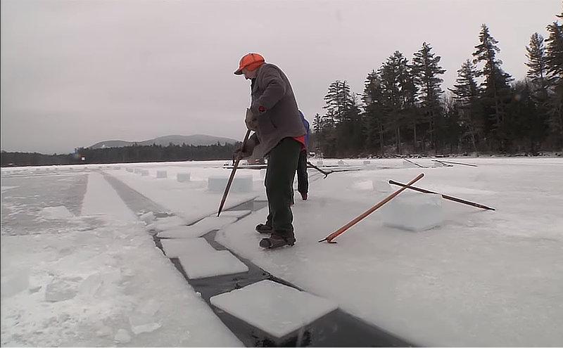 Saving Lake Ice in an Ice House for Ice Box use during Summer